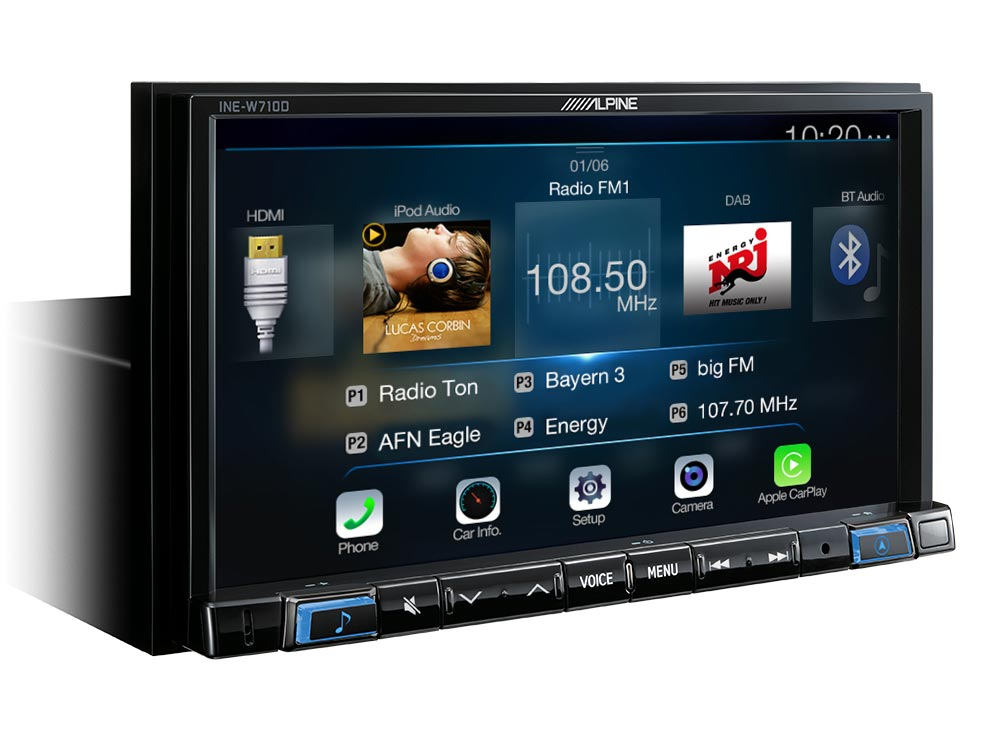 7 Touch Screen Navigation With Tomtom Maps Compatible Le Carplay And Android Auto Alpine Ine W710d